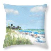 Blue Beach Umbrellas, Point Of Rocks, Crescent Beach, Siesta Key Throw Pillow