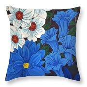 Blue Bell Flowers Throw Pillow