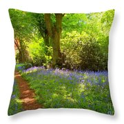 Blue Bells  Flower Throw Pillow