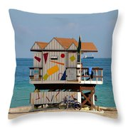 Blue Bicycle Throw Pillow by David Lee Thompson