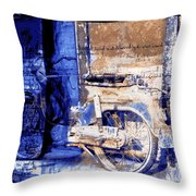 Blue Bike Abandoned India Rajasthan Blue City 2c Throw Pillow