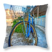 Blue Bike Throw Pillow