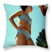 Blue Bikini Tattoo Hand Throw Pillow