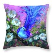Blue Bird Christmas Wish Throw Pillow