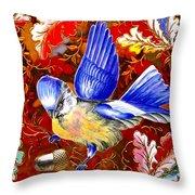 Blue Bird Leaves Throw Pillow
