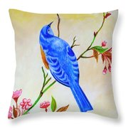 Blue Bird On Cherry Blossom  Throw Pillow