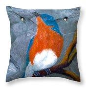Blue Bird On Slate Throw Pillow