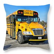 Blue Bird Vision School Bus Throw Pillow