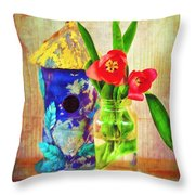 Blue Birdhouse And Red Tulips 2 Throw Pillow