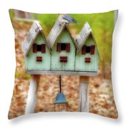 Blue Birds Castle Throw Pillow by Laura Brightwood