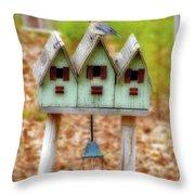 Blue Birds Castle Throw Pillow