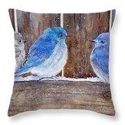 Blue Birds Fly Throw Pillow