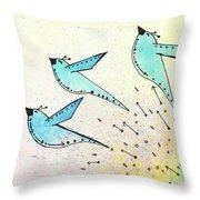 Blue Birds In Flight Throw Pillow