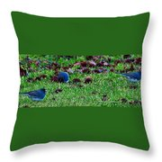 Blue Birds In Winter Throw Pillow