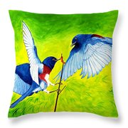 Blue Birds Throw Pillow