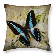 Blue Black Butterfly Dreams Throw Pillow
