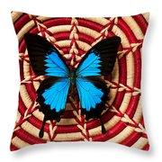 Blue Black Butterfly In Basket Throw Pillow