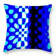 Blue Black Pattern Abstract Throw Pillow