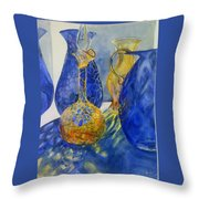 Blue Blenko Throw Pillow