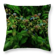 Blue Blossoms By Moonlight Throw Pillow