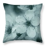 Blue Blossoms Throw Pillow by Patricia Strand