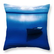 Blue Blue Boat Throw Pillow