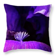 Blue Blue Iris Throw Pillow