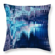 blue blurred abstract background texture with horizontal stripes. glitches, distortion on the screen broadcast digital TV satellite channels Throw Pillow