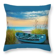 Blue Boat At Dawn Watercolors Painting Throw Pillow