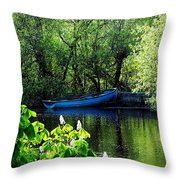 Blue Boat Cong Ireland Throw Pillow