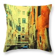 Blue Boat In Venice  Throw Pillow
