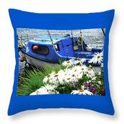 Blue Boat With Daisies Throw Pillow