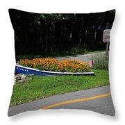 Blue Boat With Orange Flowers Throw Pillow
