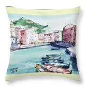Blue Boats Throw Pillow