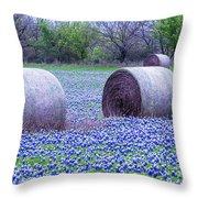 Blue Bonnets In Field Throw Pillow