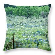 Blue Bonnets,poppies And Willow Tree 2 Throw Pillow