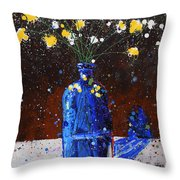 Blue Bottle And Flowers Throw Pillow