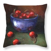 Blue Bowl And Cherries Throw Pillow