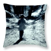 Blue Boy Walking Into The Future Throw Pillow