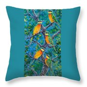 Blue Breasted Bee Eater Throw Pillow