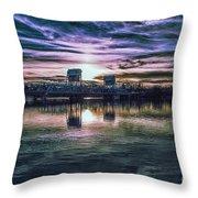 Blue Bridge At Sunset Throw Pillow