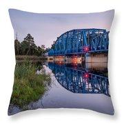 Blue Bridge Over The St. Marys River Kingsland, Georgia Throw Pillow