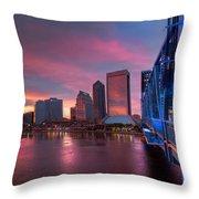 Blue Bridge Red Sky Jacksonville Skyline Throw Pillow by Debra and Dave Vanderlaan