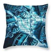 Blue Britain Bus Bill Throw Pillow