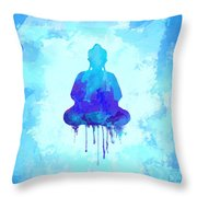 Blue Buddha Watercolor Painting Throw Pillow