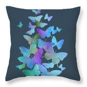 Blue Butterfly Flutter Throw Pillow