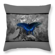 Blue Butterfly In Charcoal And Vibrant Aqua Paint Throw Pillow