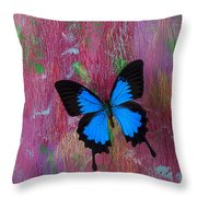 Blue Butterfly On Colorful Wooden Wall Throw Pillow