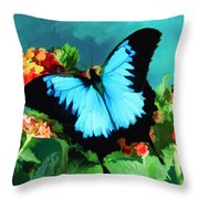 Blue Butterfly On Lantana Plant Oil Painting Throw Pillow