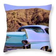 Blue Cadillac Throw Pillow